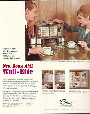 Rowe AMI Wall Elite Band Stand phonograph 1965 Ad & article