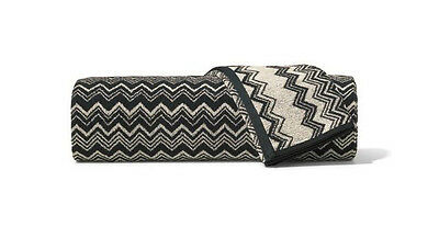 Missoni Keith Black and Off White Zig Zag Striped Hand Towel - Color 601