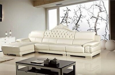 MODERN TRADITIONAL IVORY White Genuine Leather Sectional Sofa Chaise