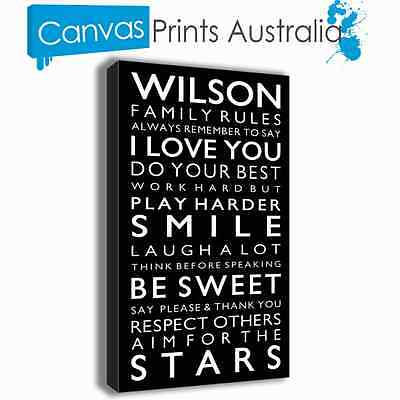 PERSONALISED FAMILY RULES CANVAS PRINTS W50CM x H90CM x D4CM 48 COLORS TO CHOOSE