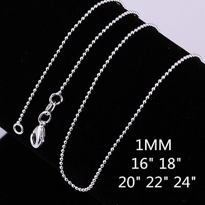Wholesale Price 925 Sterling Silver Filled 1MM Ball Bead Necklace Chain 16 - 24""