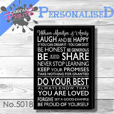 PERSONALISED FAMILY RULES CANVAS PRINTS W50CM x H70CM x D4CM 48 COLORS TO CHOOSE