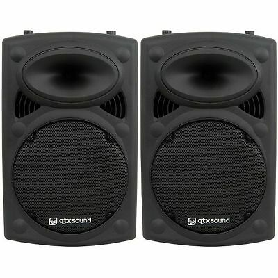 Qtx Qr12K Pair Of Active Pa Speakers Dj Disco 600W Package