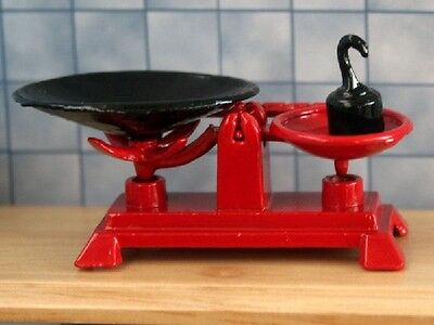 Red Weighing Scales, Dolls House Miniatures, 1.12 Scale, Kitchen Accessory