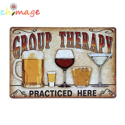 GROUP THERAPY Vintage Tin Sign Bar pub home Wall Decor Retro Metal Poster