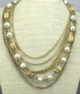 Vintage Necklace FAux pearl White Goldtone Multi Chain Filigree Bead Choker