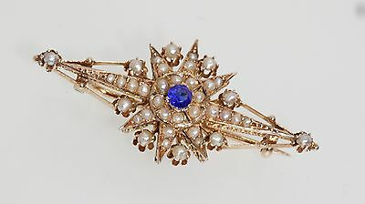 14K Rose Gold Seed Pearl Star Pin Brooch Vintage Estate Fancy Pattern
