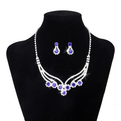 Blue Gem & Crystal Necklace Earrings Set Bridal Wedding Party Prom Jewelry