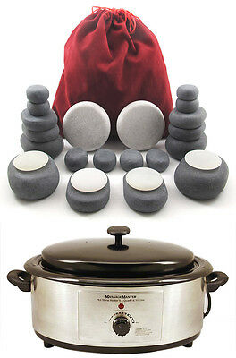 HOT/COLD STONE MASSAGE KIT: 24 Basalt & Marble/Onyx Marble Stones + 6.5 Qt Heatr