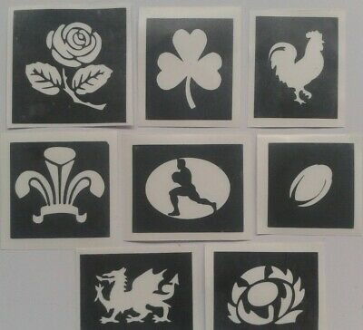 Rugby theme stencils  England Ireland Scotland Wales ball Lions Tour World Cup