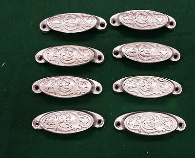 8 Drawer Pulls  Embossed Cast Iron   Victorian Style  Painted Set Of 8