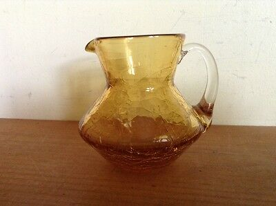 Vintage amber crackle glass creamer small pitcher hand blown with applied handle