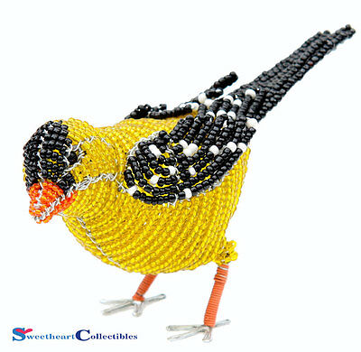 Beadworx Grass Root Hand-Crafted Beaded Gold Finch 10gfnms1