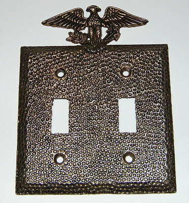 Vintage Edmar Hammered Finish Patriotic Eagle Double Light Switch Plate Cover 90