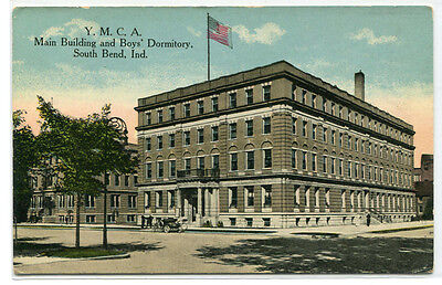 YMCA Main Building Boys Dormitory South Bend Indiana 1910c postcard