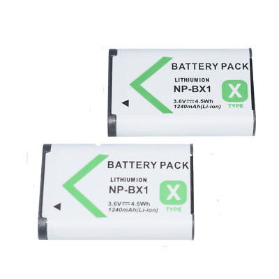 2X NP-BX1 Li-ion Camera Battery 3.6V 1240mAh For Sony Cyber-Shot DSC-RX100 RX100