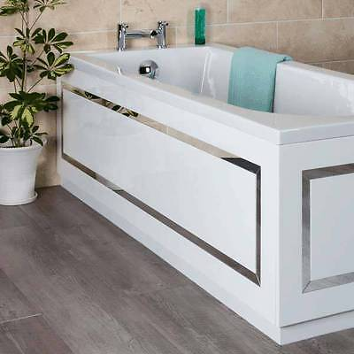 White Horizontal Stripe Bath 1700mm Front Bath Panel