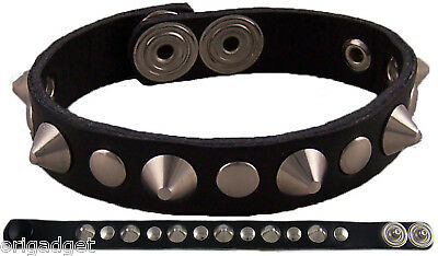 BRACCIALE MINI BORCHIE CONO 1 FILA PUNK ROCK METAL nero