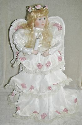 "Dillard's Exclusive 28"" Animated Musical CHRISTMAS ANGEL (1994) White Satin Gown"