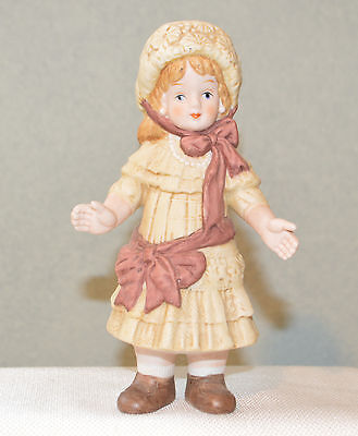 """Vintage Bisque Porcelain Doll Girl Signed Mike Chen  *Beautiful Detail*  5 3/4"""""""