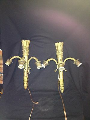 "Rare Pr 1920's 16 1/4"" French Bronze 3 Bulb Wall Sconce Light Fixture"