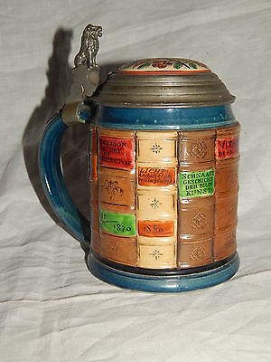 ANTIQUE METTLACH  GERMANY 1/2 L  LIDED BEER STEIN # 2001, MEDICAL BOOK, 1897