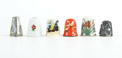 Vintage Thimble Collection Laquer Ware Orange Limoges Bone China Chatelaine LOT
