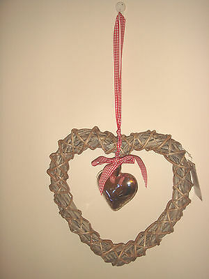 New Rustic Wicker Wall Hanging Silver Glass Heart Shabby Chic Country Cottage