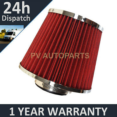 Red & Chrome Universal Polished Car Cotton Air Filter With Adaptors