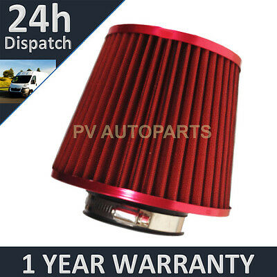 Red Universal Polished Car Cotton Air Filter With Adaptors