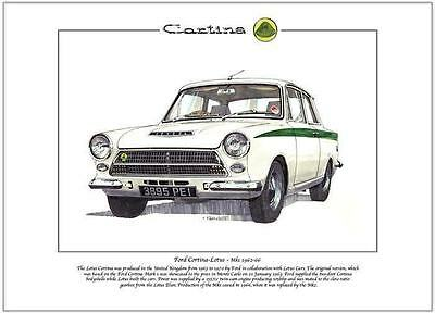 FORD CORTINA - LOTUS Mk1 - Fine Art Print A4 size - Produced in the UK 1963-1966