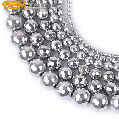 "Silver Metallic Coated Hematite Beads For Jewelry Making 15"" No Magnetic Faceted"
