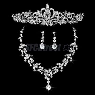 Wedding Bridal Prom Jewelry Set Crystal Diamante Necklace Earring Tiara Headband