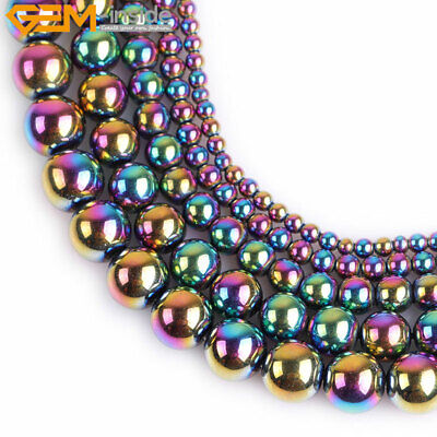 """Round Multi-Color Metallic Coated Hematite Beads Jewelry Making 15"""" No magnetic"""