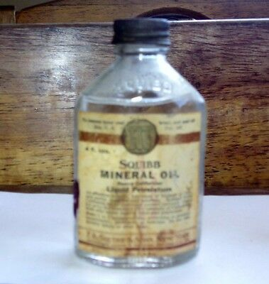 Antique Squibb Mineral Oil  Full Bottle ? Rare Special 4 Oz Size - New York