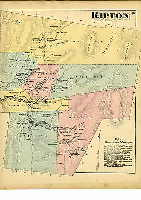 1871 Beers map of Ripton Vermont from Atlas of Addison County w/family names