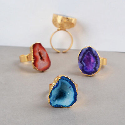FREE Ship Wholesale Jewelry 5Pcs/Lot Cave Agate Druzy Ring Gold Plated BG0140