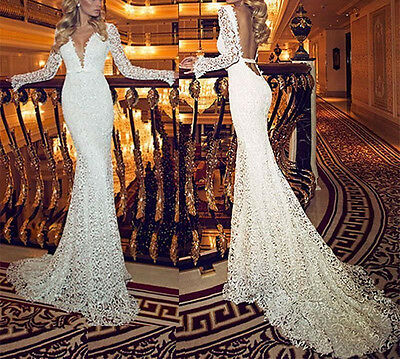 Sexy Lace V-Neck Mermaid Backless Long Sleeve Wedding Dress Bridal Gown Custom