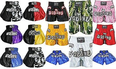 Blitz Kickboxing Thai Fight Shorts Adults Kids Boys Girls Mens Womens 2 Tone
