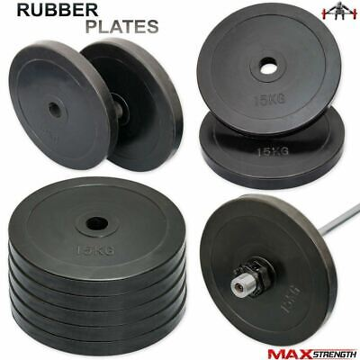 "2"" Olympic Rubber Weight Plates Gym Body Building Crossfit Disc 15kg 5cm"