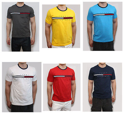 New Tommy Hilfiger Men Classic Fit Crew Neck Logo Tee Shirt T-Shirt