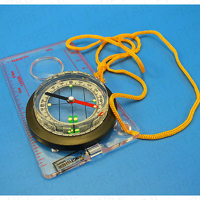 MAP READING COMPASS <WITH NECK STRAP & MAGNIFYING GLASS> Walking Hiking Camping