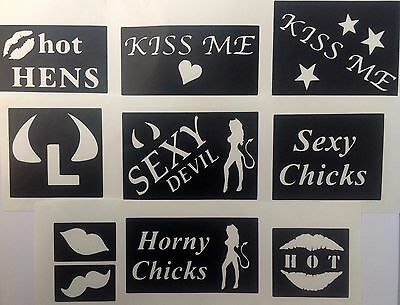 10x stencils hen night horny chick top up your glitter tattoo kit face painting