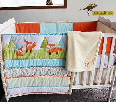 New Baby Boys Girls 8 Pieces Fox Theme Cotton Nursery Bedding Crib Cot Set