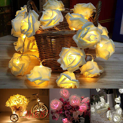 Hot 20 LED Rose Flower Fairy Wedding Christmas Party Decoration String Lights