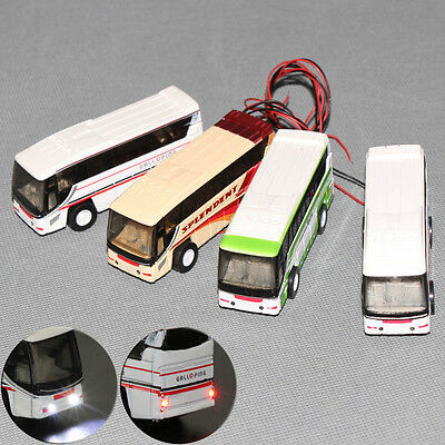 2PC 1:100 Model Lighted Cars Bus With 12V LED Lights for Building Layout Diecast