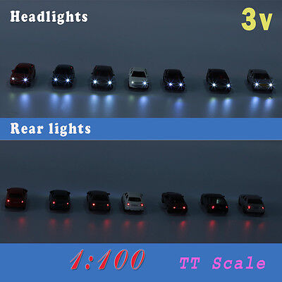 12PCS 1:100 TT HO  Scale Model Lighted Car With 3V LED Light for Building Layout