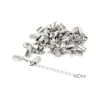 12 Silver Crimp End Cap Lobster Clasp Extender Chain Leather Cord Findings