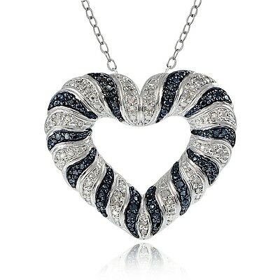 0.50ct TDW Black & White Diamond Wave Heart Necklace