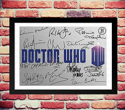 Doctor Who All Dr Cast Signed Autograph Print Poster Photo Tv Show Series